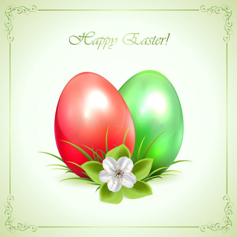 Dois ovos da páscoa decorativos no fundo verde ilustração stock