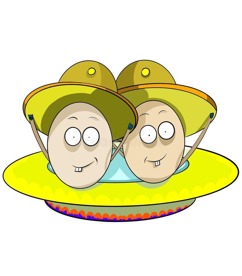 dois ovos engraçados da galinha dos irmãos ilustração royalty free