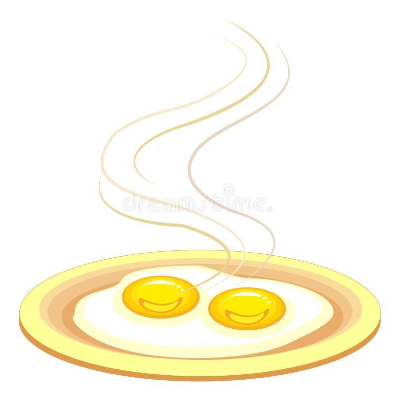 Dois ovos fritados em uma placa A omeleta r?pida e nutritivo do caf? da manh? ? deliciosa e saud?vel para o almo?o ou o jantar Il ilustração royalty free