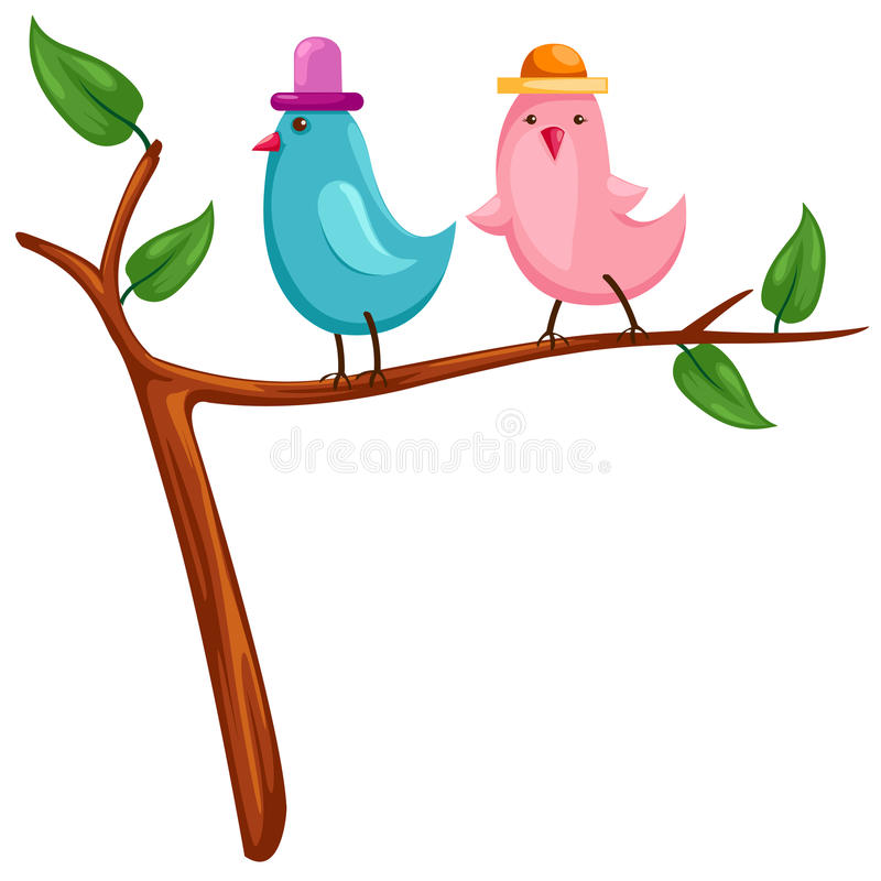 Dois pássaros ilustração royalty free