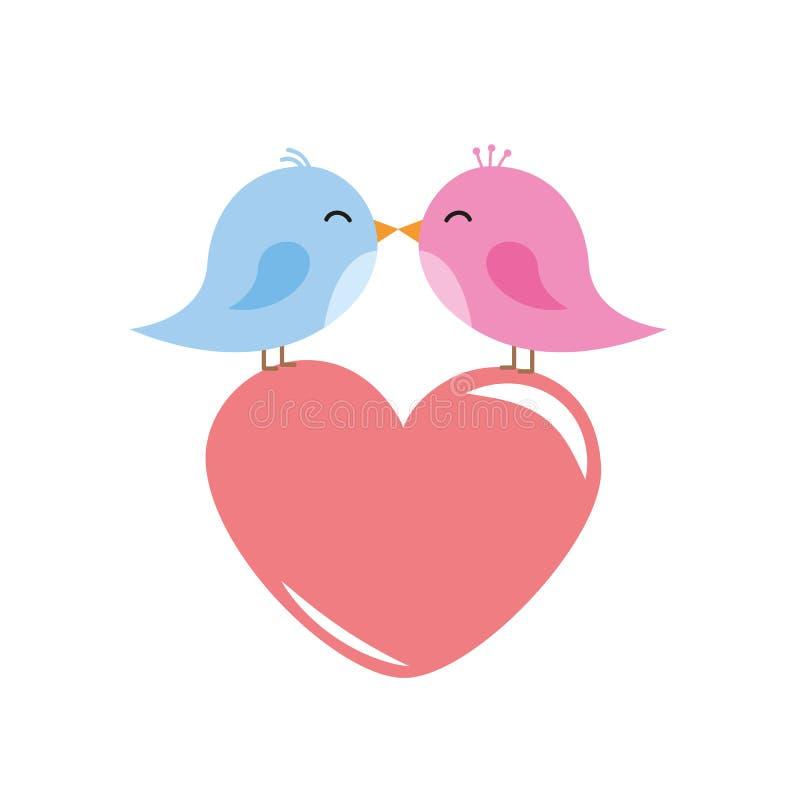 Dois pássaros bonitos estão beijando desenhos animados vermelhos do coração ilustração royalty free