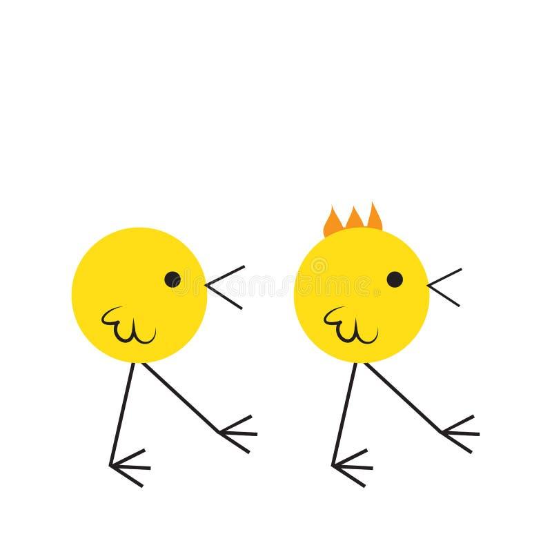 Dois pássaros bonitos que comem migalhas no assoalho, ilustração lisa do vetor do projeto, estilo simples dos desenhos animados ilustração do vetor