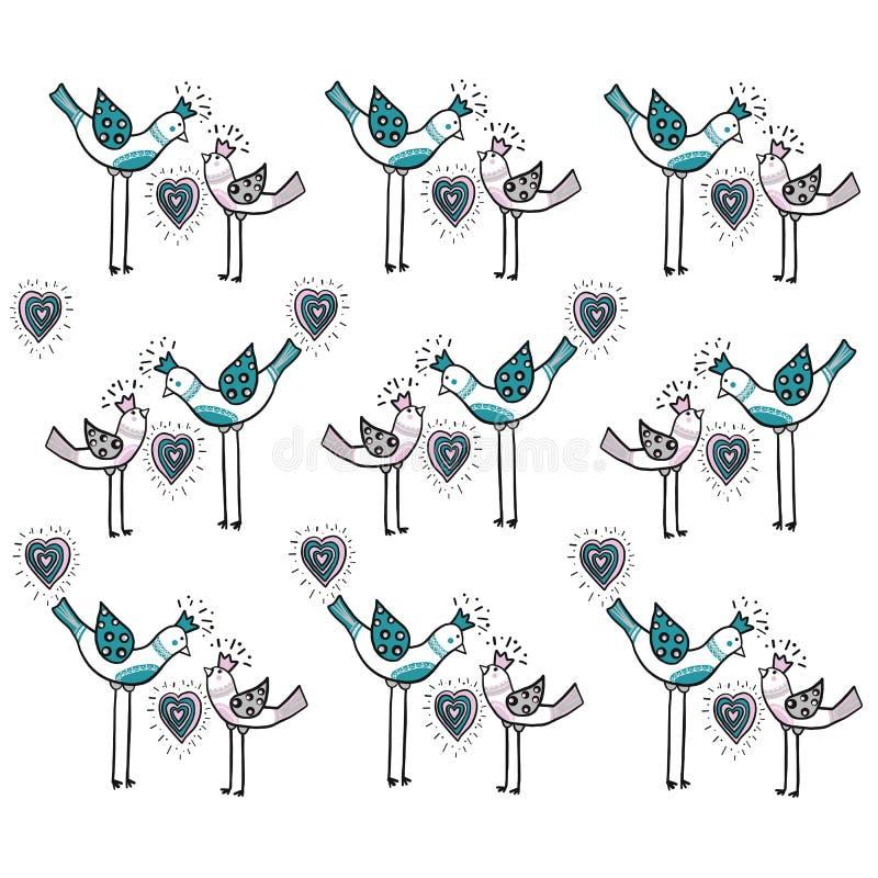 Dois pássaros do amor com coração são parte de um ornamento bonito que crie o teste padrão do projeto Conceito do amor Vetor EPS  ilustração do vetor