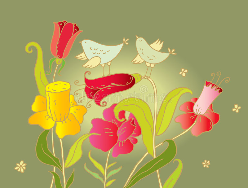 Dois pássaros e flores ilustração royalty free