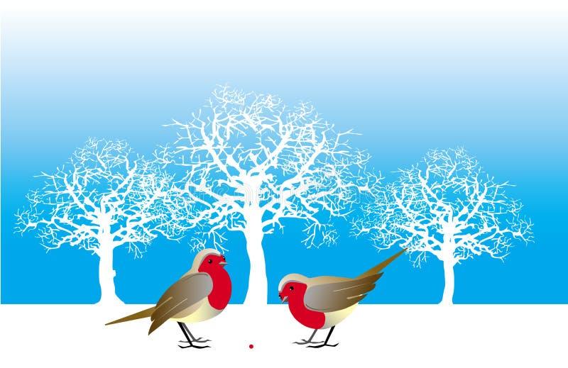 Dois pássaros e uma baga ilustração do vetor