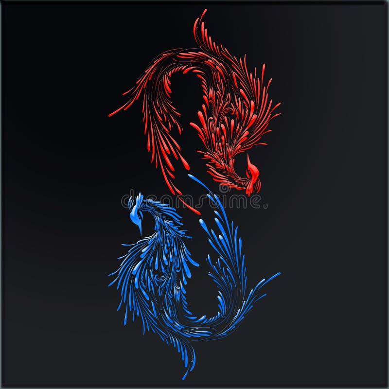 Dois pássaros fabulosos, figura criativa 8, fogo e gelo ilustração do vetor
