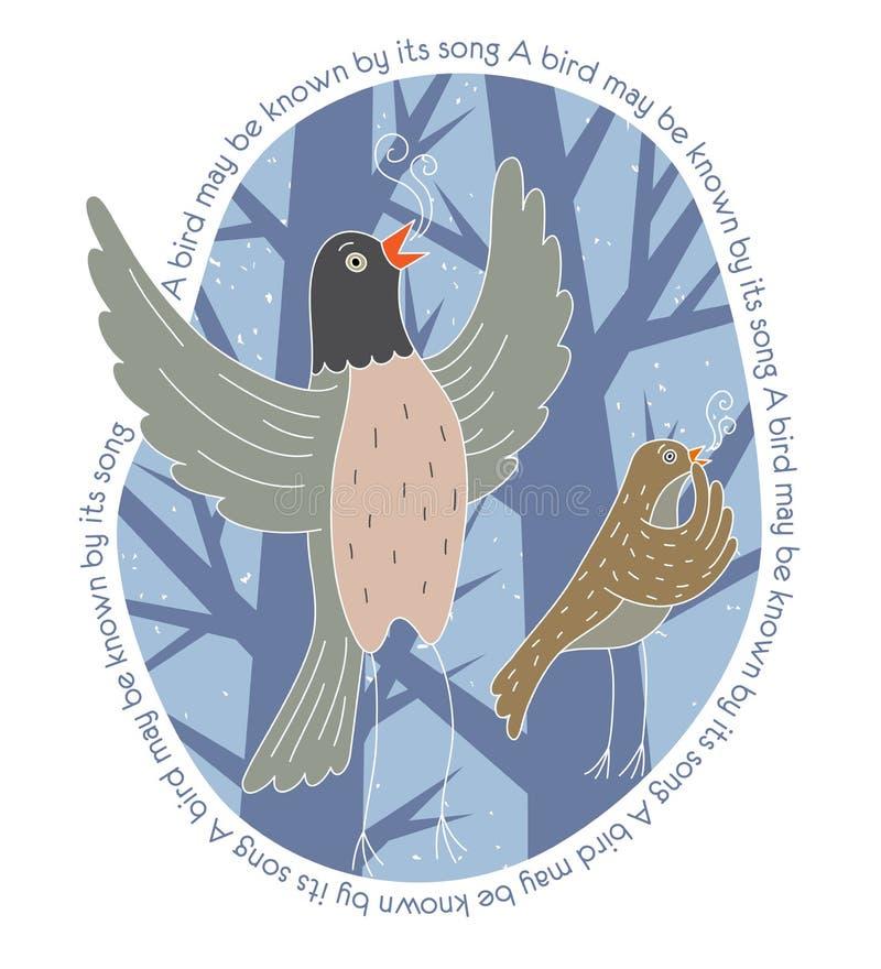 Dois pássaros que cantam na floresta ilustração royalty free