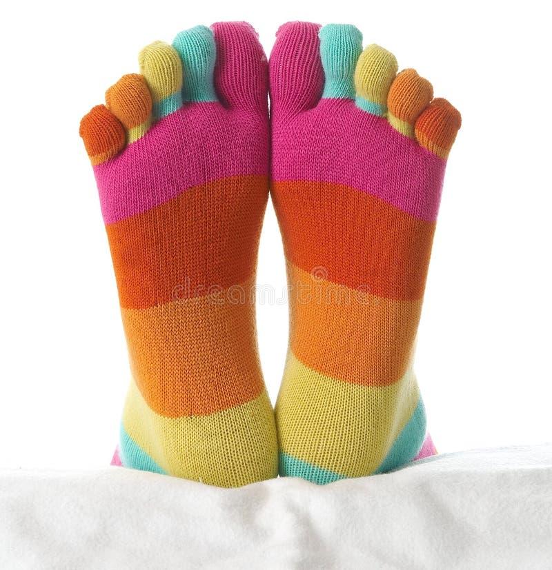 Dois pés nas meias fotografia de stock