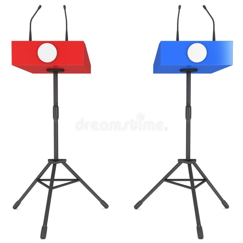 Dois pódios do orador no tripé ilustração stock