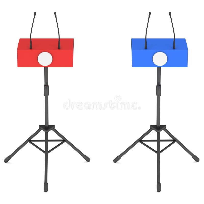 Dois pódios do orador no tripé ilustração do vetor