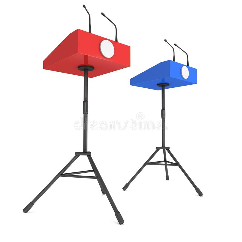Dois pódios do orador no tripé ilustração royalty free