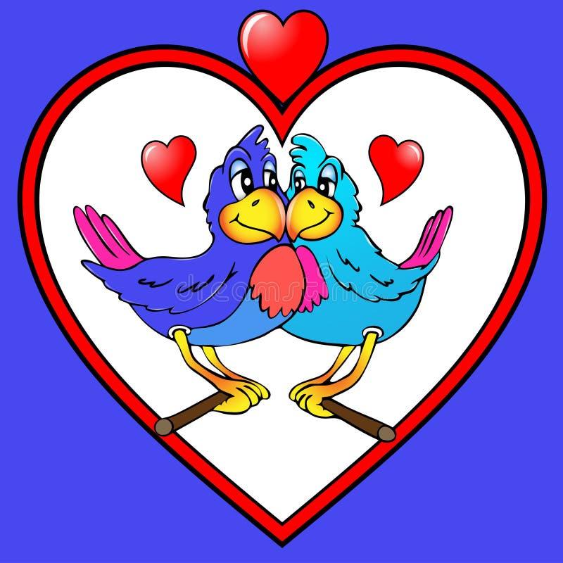 Dois papagaios são beijados no coração ilustração royalty free