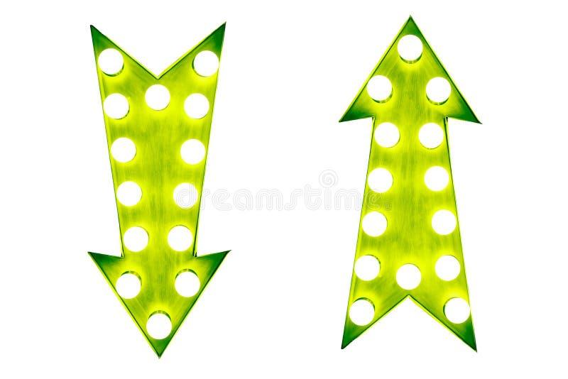 Dois para cima e para baixo a seta iluminada brilhante e colorida verde do vintage da exposição assinam ilustração royalty free