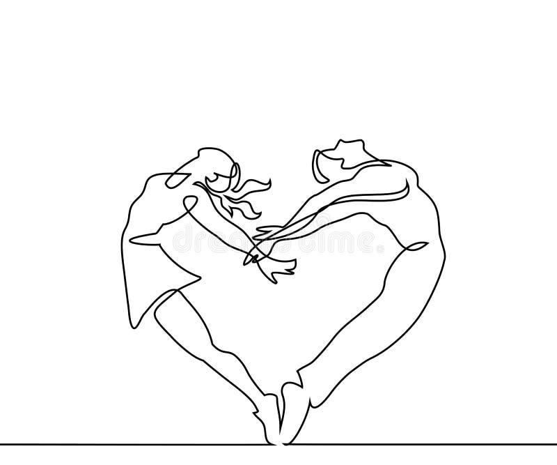 Dois pares dos povos fazem o coração no salto ilustração royalty free