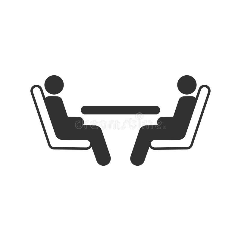 Dois passageiros que assentam na tabela no transporte público, ônibus, plano, trem Ilustração do vetor isolada no branco ilustração stock