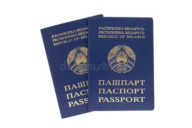 Dois passaportes belorussian em um fundo branco imagem de stock royalty free