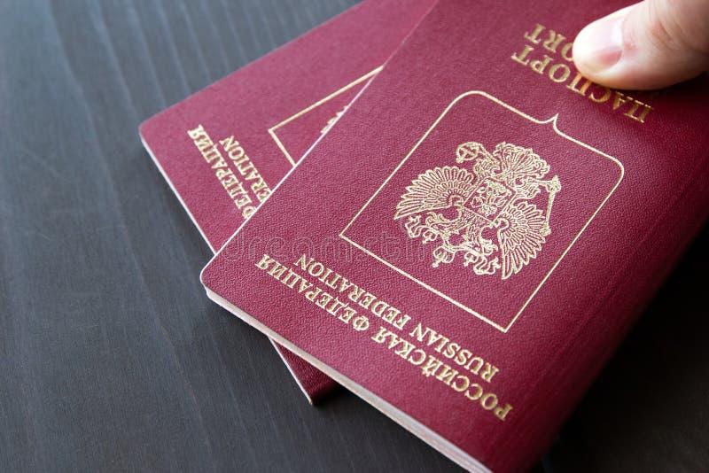 Dois passaportes em um fundo neutro cinzento, close up imagem de stock