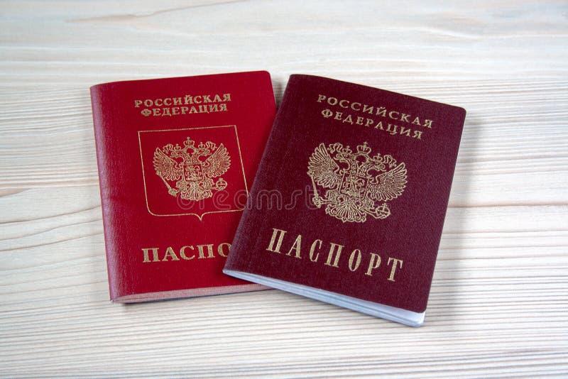 Dois passaportes russian imagens de stock