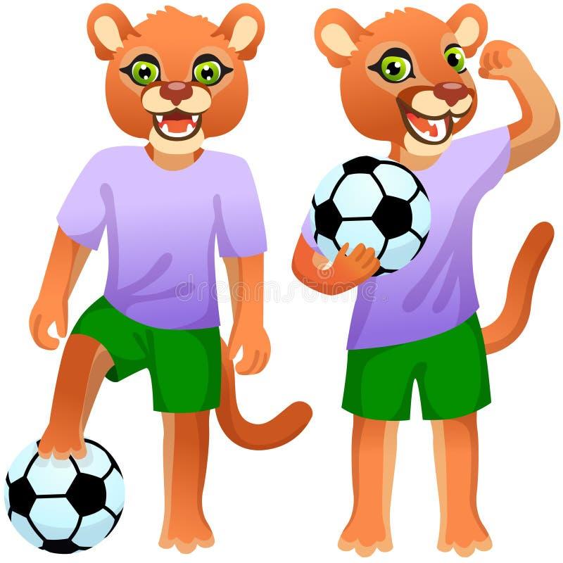 Dois patins de pé como os jogadores de futebol de uniforme com a bola de futebol ilustração stock