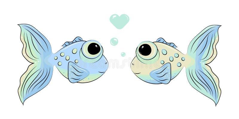 Dois peixes bonitos no amor ilustração do vetor