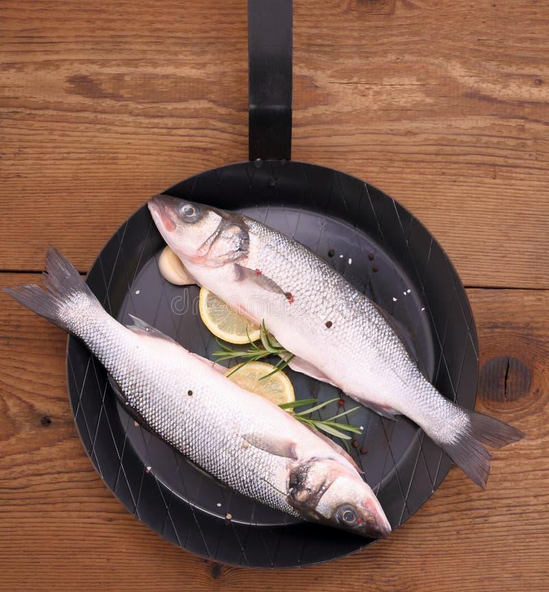 Dois peixes frescos do badejo na frigideira com ingredientes fotografia de stock