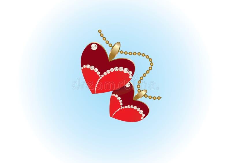 Dois pendentes do coração na corrente do ouro ilustração stock