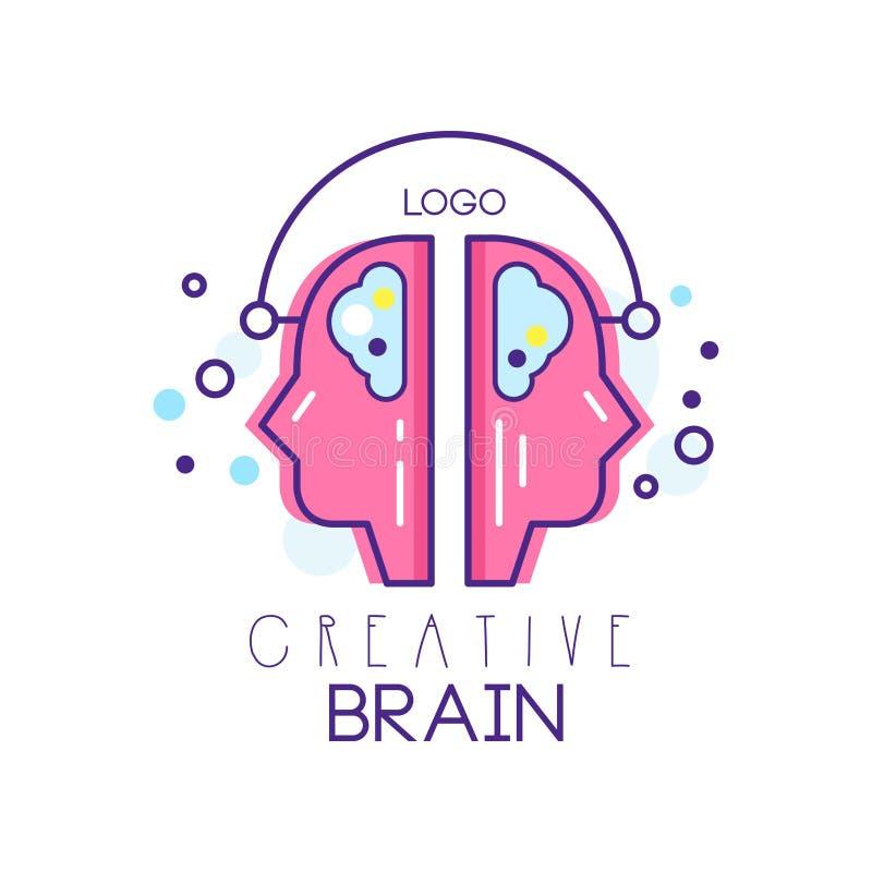 Dois perfis dos povos no processo da sessão de reflexão Símbolo criativo do cérebro no estilo do esboço com suficiência cor-de-ro ilustração royalty free