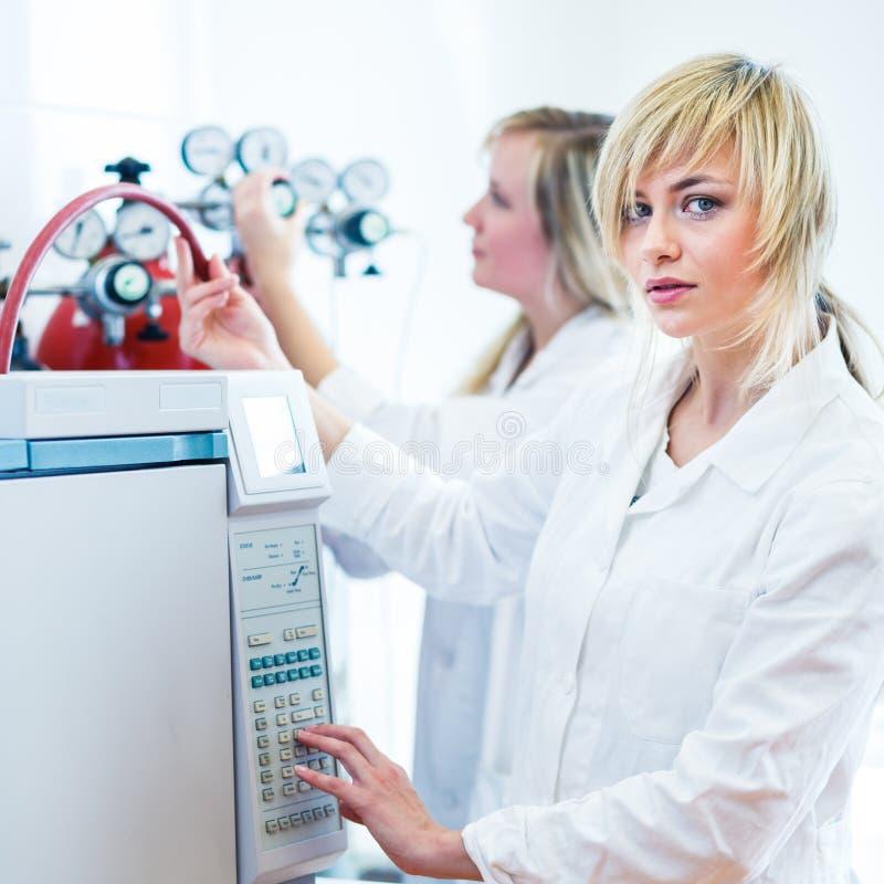 Dois pesquisadores fêmeas que trabalham em um laboratório foto de stock royalty free