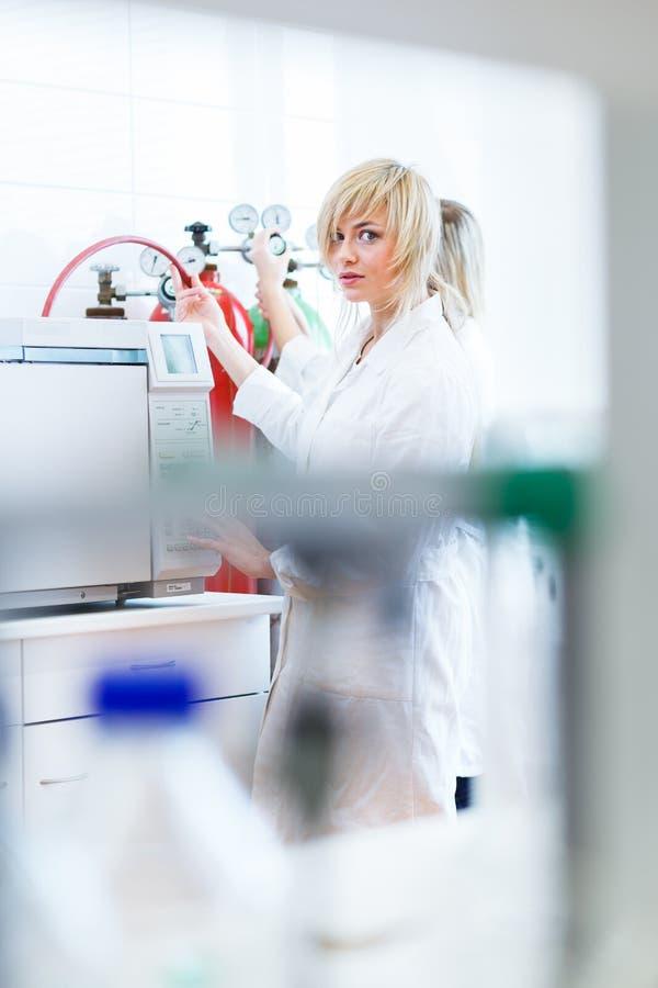 Dois pesquisadores fêmeas que trabalham em um laboratório fotos de stock royalty free