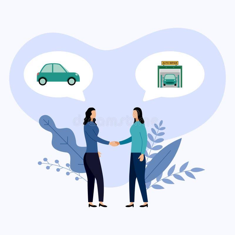 Dois pessoas falam sobre o serviço e o reparo do carro ilustração do vetor