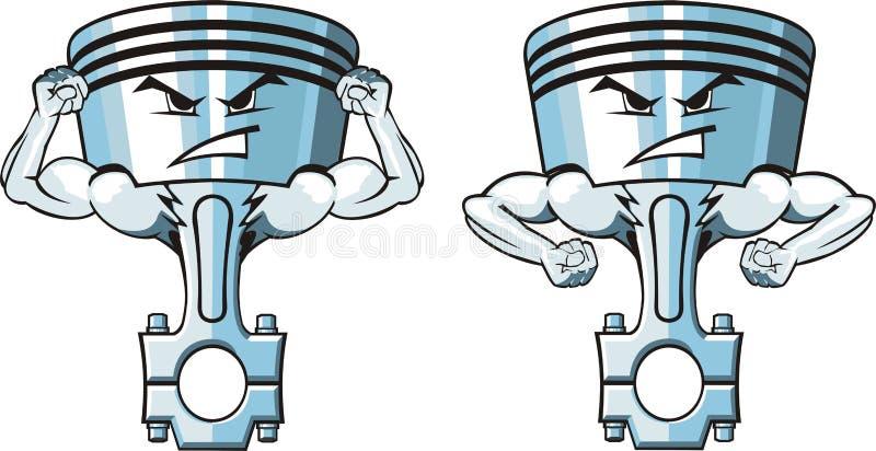 Dois pistões fortes ilustração stock