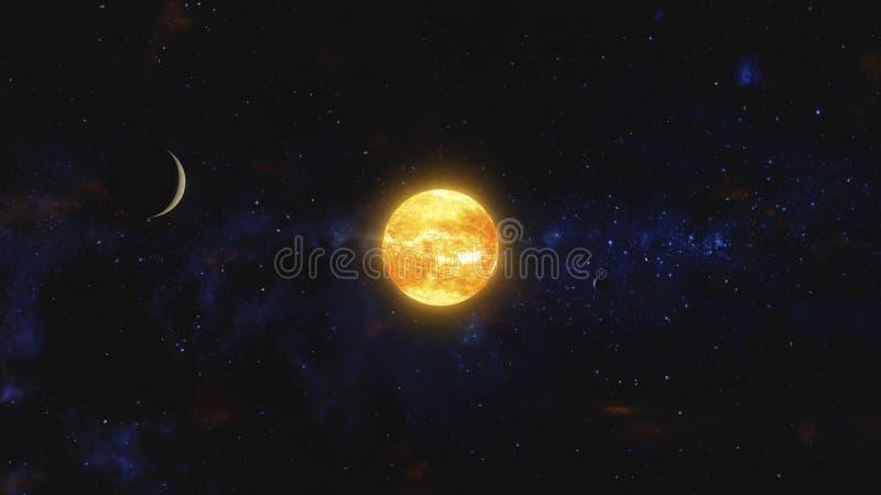 Dois planetas e restos de espaço que orbitam a estrela próxima O espaço, arte cósmica e conceito da ficção científica ilustração stock