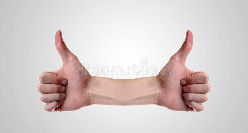 Dois polegares acima imagem de stock