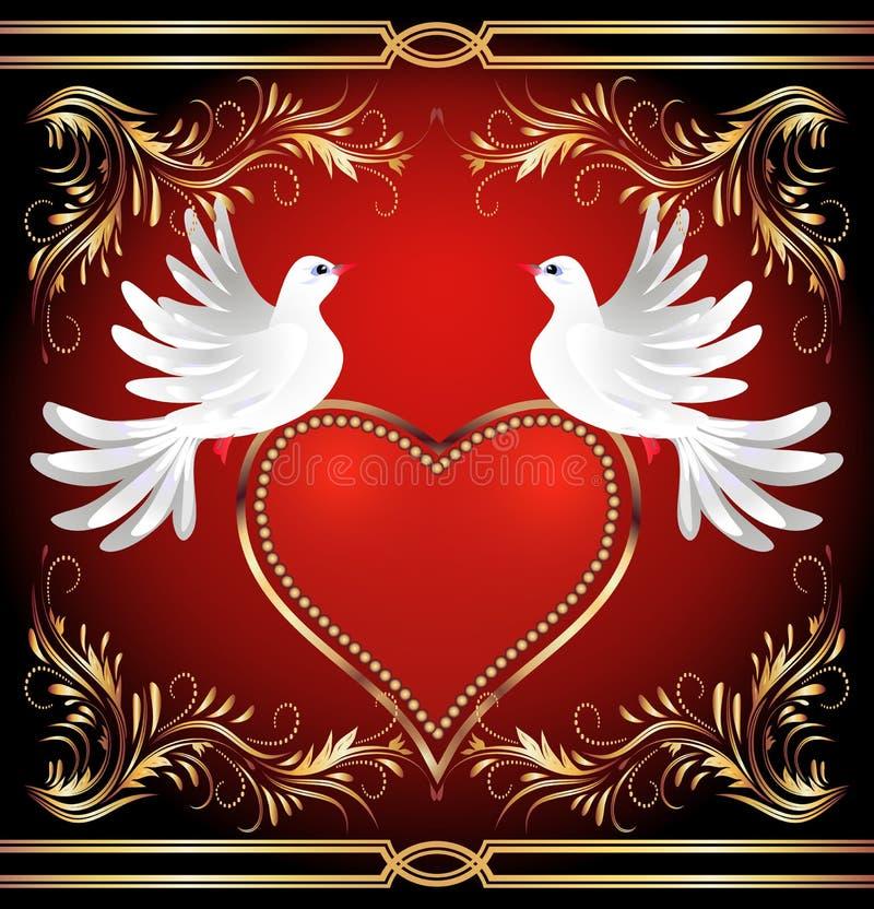 Dois pomba e coração ilustração stock