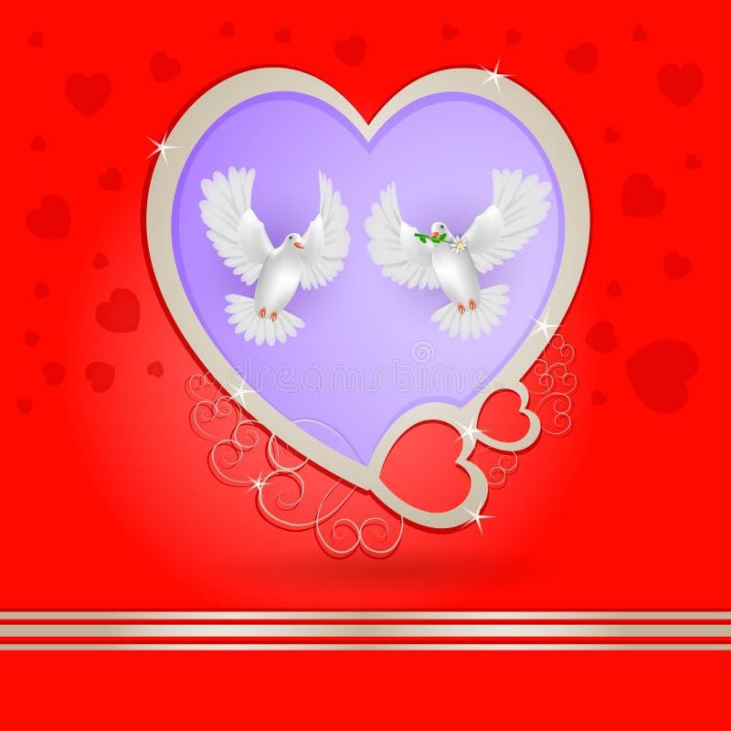 Dois pombos brancos com coração dourado ilustração do vetor