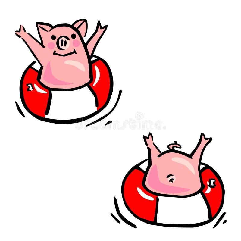 Dois porcos dos desenhos animados do vetor e anéis engraçados da flutuação ilustração do vetor