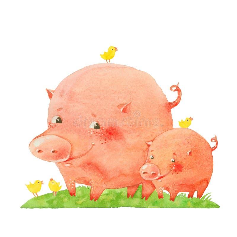 Dois porcos e pássaros ilustração royalty free