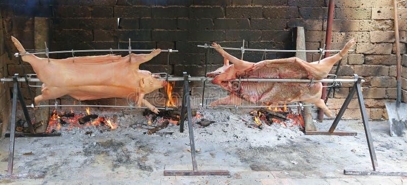 dois porcos que cozinham lentamente no cuspe de aço enorme no gigantesco imagens de stock