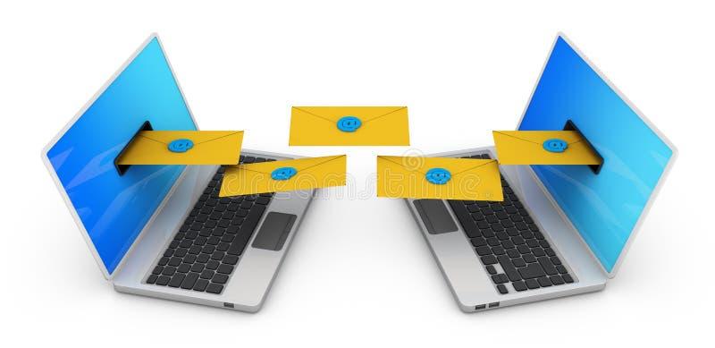 Dois portáteis com envelopes ilustração do vetor