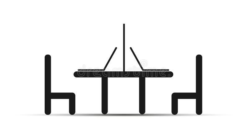 Dois portáteis na tabela, ao lado das cadeiras de tabela, projeto simples ilustração stock