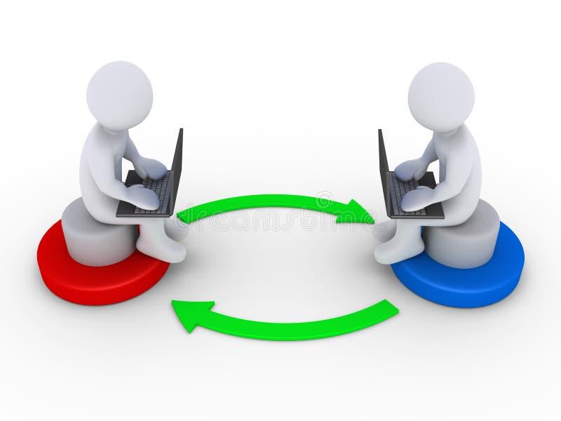 Dois povos com computadores interagem um com o otro ilustração stock
