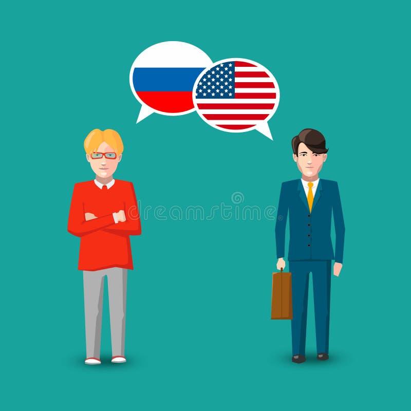 Dois povos com discurso branco borbulham com as bandeiras de Rússia e de EUA Ilustração do conceito do estudo da língua ilustração stock