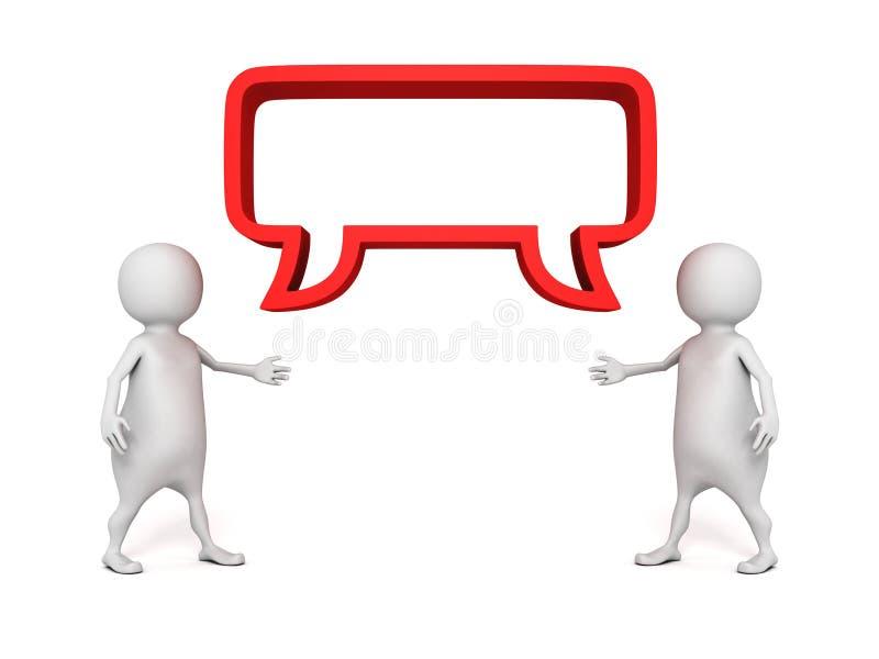Dois povos 3d com bolha do discurso Conceito de uma comunicação ilustração stock