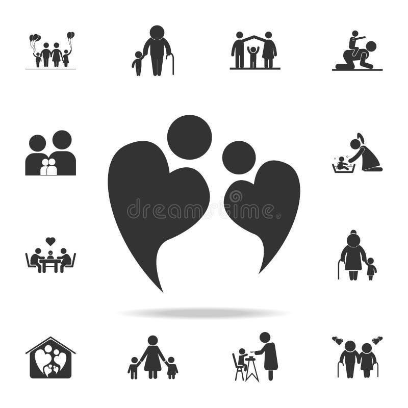 dois povos no amor que forma o ícone do símbolo do coração Grupo detalhado de ícones humanos da parte do corpo Projeto gráfico da ilustração royalty free