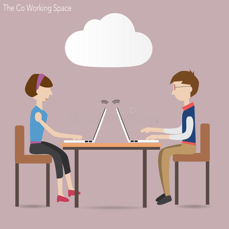 Dois povos no espaço de funcionamento do co e no conceito da nuvem ilustração stock
