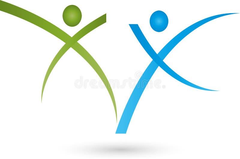 Dois povos no logotipo do movimento, do esporte e da aptidão ilustração stock