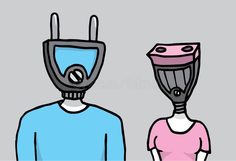 Dois povos que conectam no amor com as cabeças como tomadas ilustração stock