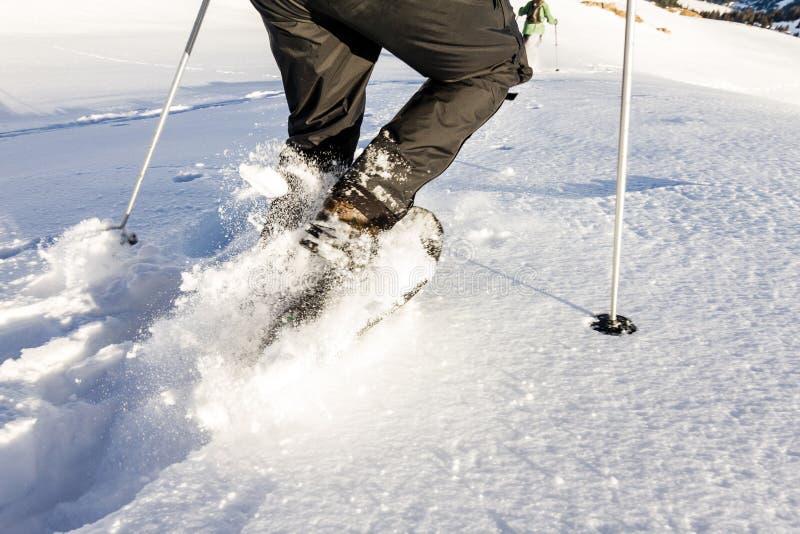 Dois povos que correm para baixo através da neve profunda com snoeshoes e que caminham varas foto de stock royalty free
