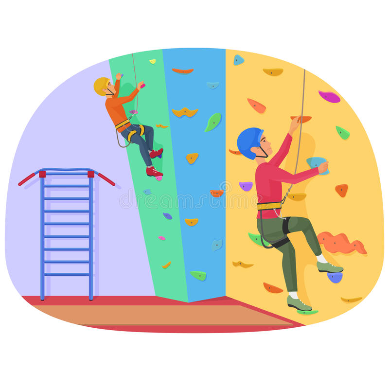 Dois povos que escalam em uma parede da escalada vector a ilustração ilustração stock