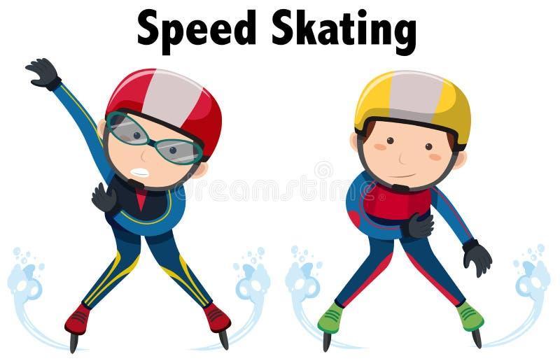 Dois povos que fazem a patinagem da velocidade ilustração stock